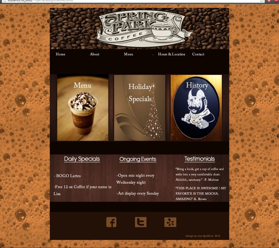 Website 2- Coffee Shop