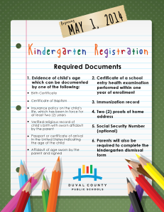 kindergarten registration 2014